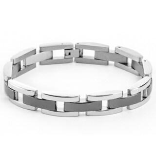 Two-tone Stainless Steel Men's Rectangle Center-link Bracelet