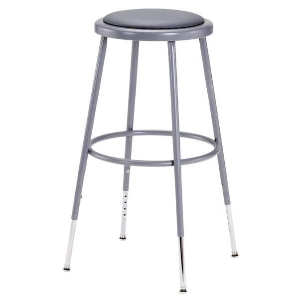 Grey Vinyl Padded Adjustable Height Stool Free Shipping