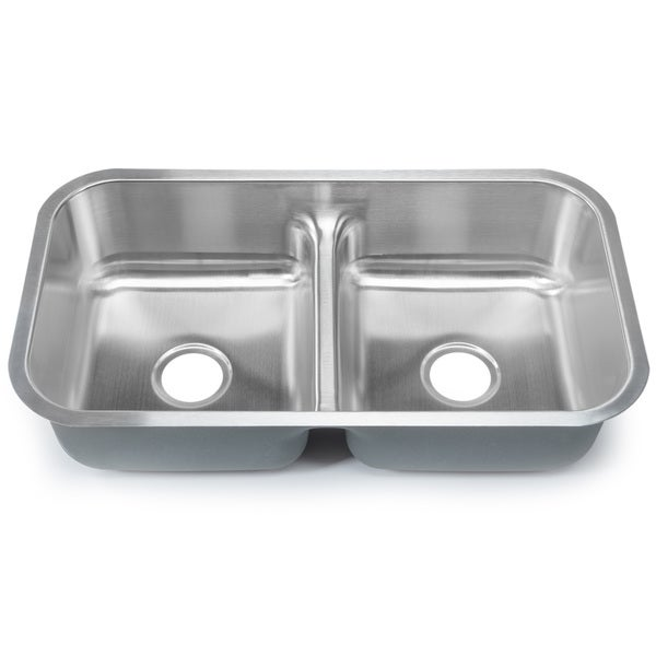 designer collection stainless steel low divide equal double bowl kitchen sink - Bowl Kitchen Sink