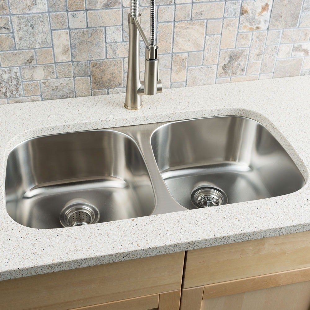 Clark Stainless Steel (Silver) Equal Double-bowl Kitchen ...