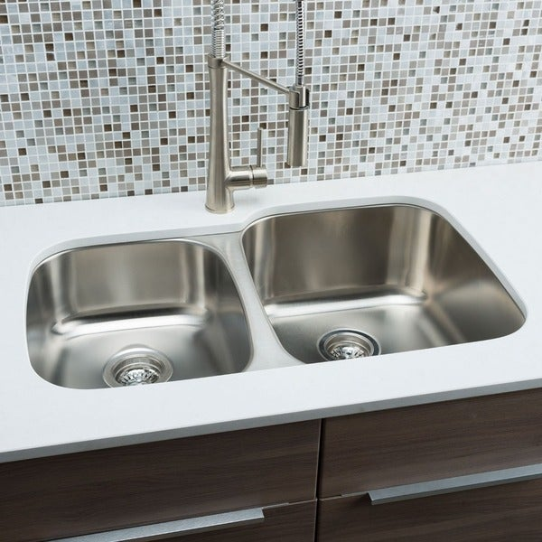 Hahn Kitchen Sinks : Hahn Chef Series Stainless Steel 40/ 60 Double-bowl Kitchen Sink ...