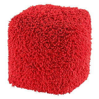 Red Shagadelic 19-inch Chenille Pouf