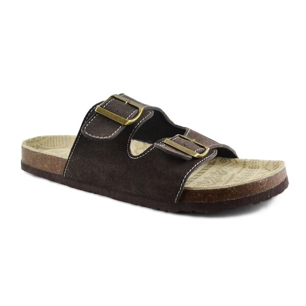 Muk Luks Mens Parker Brown Cow Suede Duo Strapped Sandals
