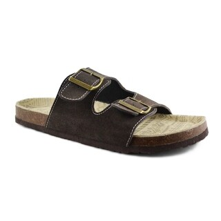 Muk Luks Men's 'Parker' Brown Cow Suede Duo Strapped Sandals