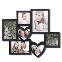 Adeco Decorative Black Plastic Wall Hanging Collage Photo Frame