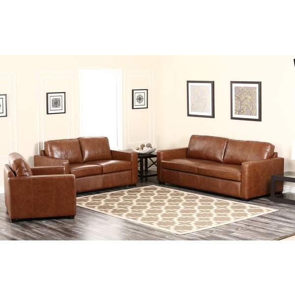 abbyson living felton camel 3 piece leather sofa set free shipping