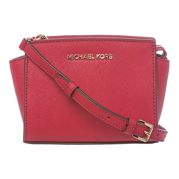 MICHAEL Michael Kors 'Selma' Mini Red Saffiano Leather Crossbody Bag