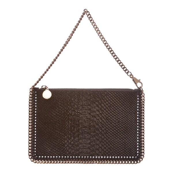 Stella McCartney 'Falabella' Bronze Velvet Python-embossed Bag
