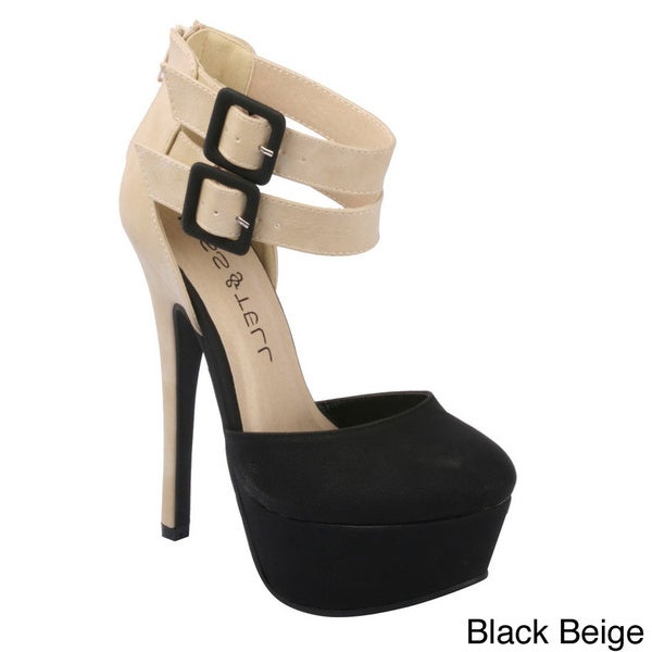 Kiss & Tell Women's 'Ivria-11' Two-tone Double Buckle Ankle Strap Sandals