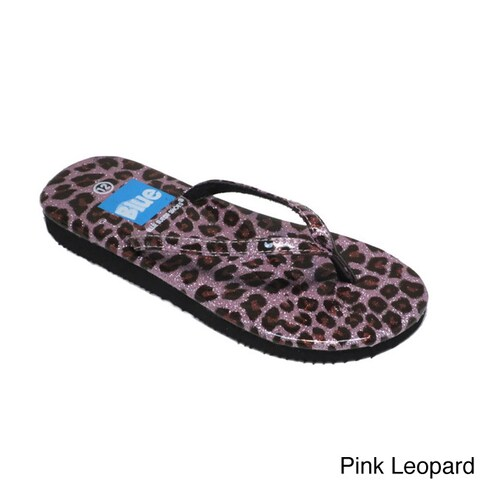 Blue Girls 'K-Zambo' Animal Print Flip-flops