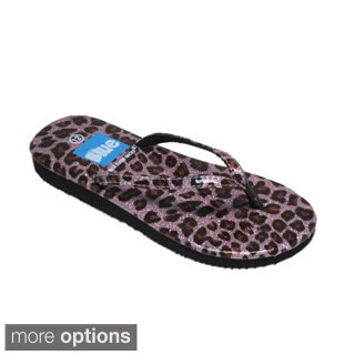 Blue Girls 'K-Zambo' Animal Print Flip-flops