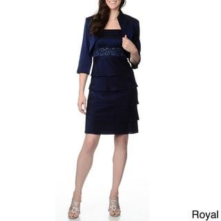 R&M Richards Women's Lurex Beaded Embellishment Dress and Jacket Set
