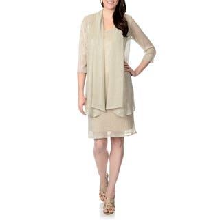 R & M Richards Women's Lurex Draped Jacket and Dress Set|https://ak1.ostkcdn.com/images/products/8769783/P16010866.jpg?impolicy=medium
