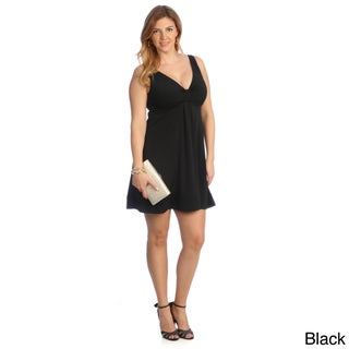 Evanese Women's Plus Size Short V-neck Dress (More options available)