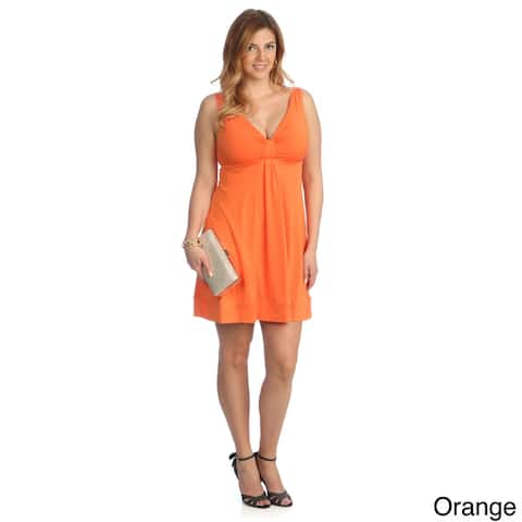 Evanese Women's Plus Size Short V-neck Dress
