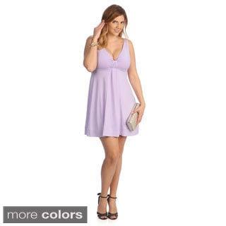 Evanese Women's Plus Size Short V-neck Dress
