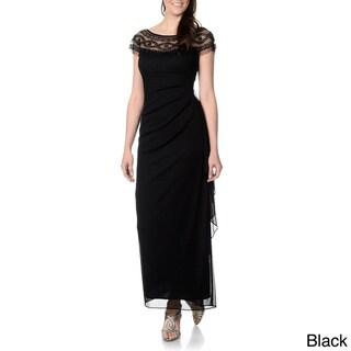 R & M Richards Women's Mesh Overlay Beaded Gown