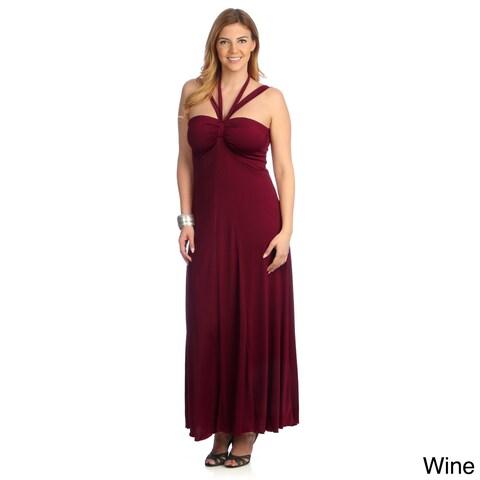 Evanese Women's Plus Size Cross-tie Halter Dress