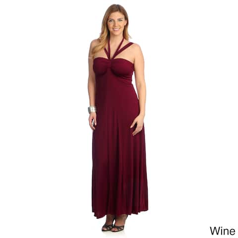 Evanese Women's Plus Size Cross-tie Halter Dress