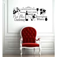 Wine Words Glossy Black Vinyl Sticker Wall Decal