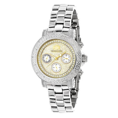 Luxurman Women's 1/3ct Diamond Two-tone Gold-plated Watch with Metal Band and Extra Leather Straps