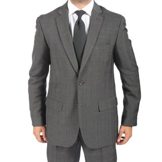 Ferrecci Men's Slim Fit Faint Grey Plaid 2-button Suit