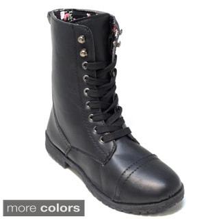 Blue Women's 'Millie' Mid-calf Combat Boots