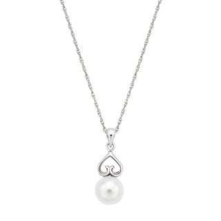 Pearlyta Sterling Silver Freshwater Pearl Heart Necklace (7-8 mm)