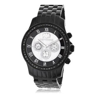 Luxurman Men's 2 1/4ct Black Diamond Chronograph Watch Metal Band plus Extra Leather Straps