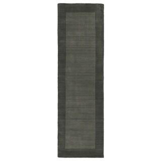 Hand-tufted Borders Grey Wool Rug (2'6 x 8'9)
