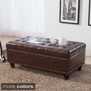 Luxury Classic Tufted Nailhead Trim Storage Bench Ottoman