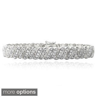 DB Designs 1ct TDW Diamond Wave Link Tennis Bracelet