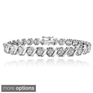 DB Designs 1ct TDW Diamond X Tennis Bracelet (2 options available)