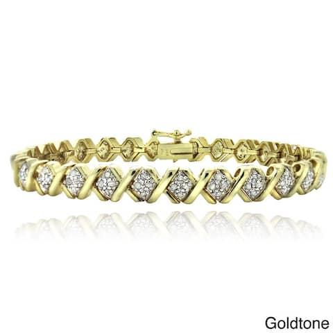 DB Designs 1ct TDW Diamond X Tennis Bracelet