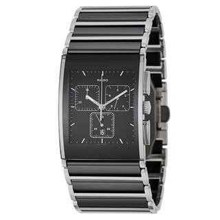 Rado Men's 'Integral Chronograph' Stainless Steel Black Ceramic Chronograph Watch
