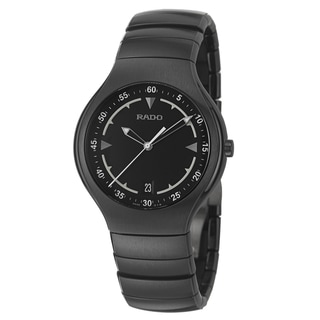 Rado Men's 'True' Black Ceramic Swiss Quartz Watch