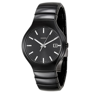 Rado Men's 'True' Black Ceramic Black Dial Swiss Quartz Watch