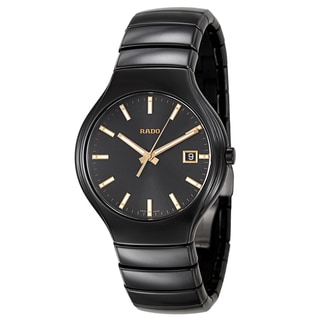 Rado Men's 'True' Black Ceramic Dial Swiss Quartz Watch
