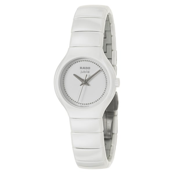 Shop Rado Women's 'True Jubile' White Ceramic Diamond Swiss Quartz Watch - Free Shipping Today - Overstock - 8771091