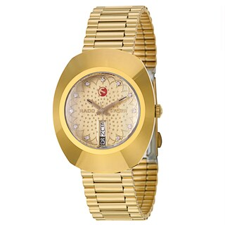 Rado Men's 'Original' Yellow Gold-Plated Crystal Swiss Mechanical Automatic Watch