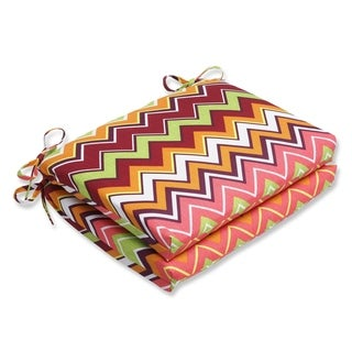 Pillow Perfect Zig Zag Squared Corners Outdoor Seat Cushions (Set of 2)