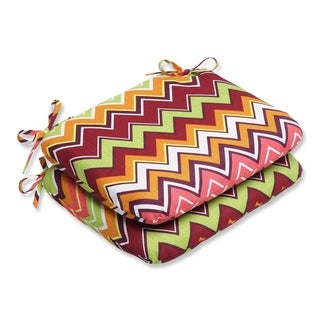 Pillow Perfect Zig Zag Rounded Corners Outdoor Seat Cushions (Set of 2)