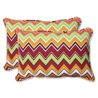Pillow Perfect Zig Zag Over-sized Rectangular Outdoor Throw Pillows (Set of 2) - 16.5 x 24.5 x 5