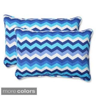 Pillow Perfect Panama Wave Over-sized Rectangular Outdoor Throw Pillows (Set of 2)