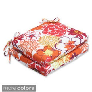 Pillow Perfect Floral Fantasy Squared Corners Seat Outdoor Cushions (Set of 2)