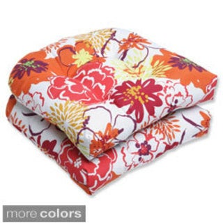 Pillow Perfect Floral Fantasy Wicker Seat Outdoor Cushions (Set of 2)