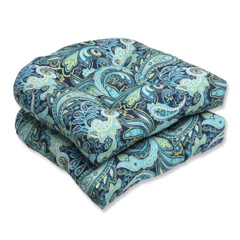 Pillow Perfect Pretty Paisley Navy Wicker Seat Outdoor Cushions (Set of 2)
