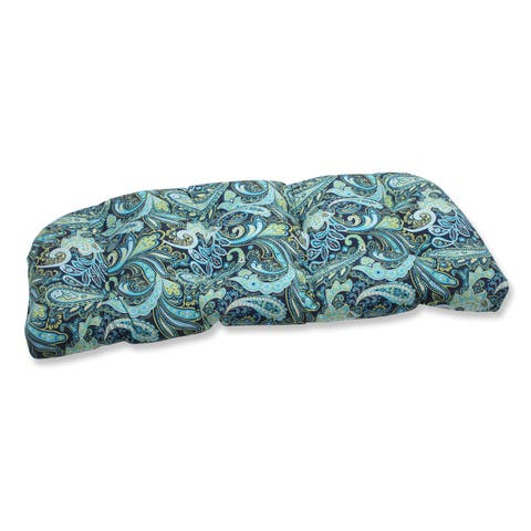 Pillow Perfect Pretty Paisley Navy Wicker Loveseat Outdoor Cushion