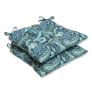 Pillow Perfect Outdoor Pretty Paisley Navy Wrought Iron Seat Cushion (Set of 2)