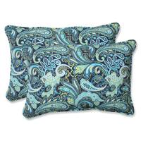 Pillow Perfect Pretty Paisley Navy Over-sized Rectangular Outdoor Throw Pillows (Set of 2)